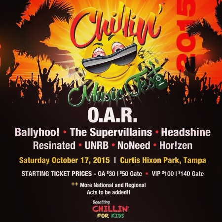 Oct 17 - Chillin Music Fest features O.A.R., Ballyhoo!, The Supervillains, Headshine & more in Tampa Florida