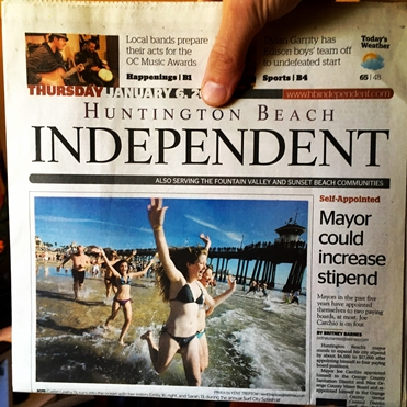 Headshine featured on front page of LA Times / Huntington Beach Independent newspaper